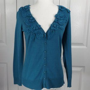 Moth Turquoise  Cardigan w Knitted Floral Collar M